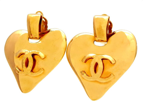 Vintage Chanel heart earrings CC logo dangle