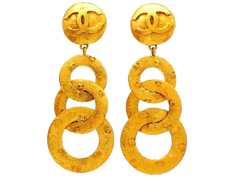 Vintage Chanel dangle earrings triple CC logo hoops