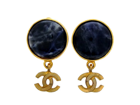 Vintage Chanel earrings navy blue stone CC logo dangle