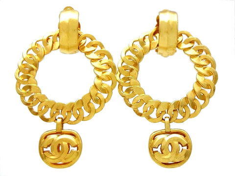 Vintage Chanel hoop earrings CC logo dangle