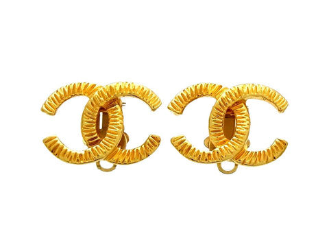 Vintage Chanel earrings CC logo notched
