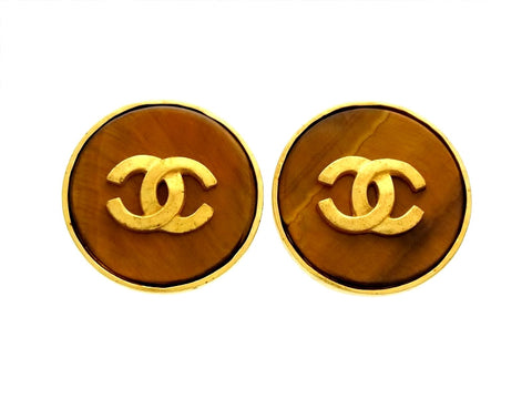 Vintage Chanel earrings CC logo brown stone round