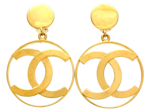 Vintage Chanel dangling earrings CC logo hoop