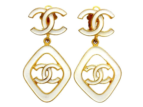 Vintage Chanel earrings CC logo dangle white