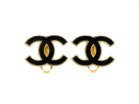 Vintage Chanel earrings CC logo black