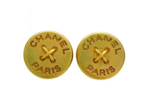 Vintage Chanel earrings button logo round