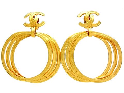 Vintage Chanel earrings hoop dangle CC logo