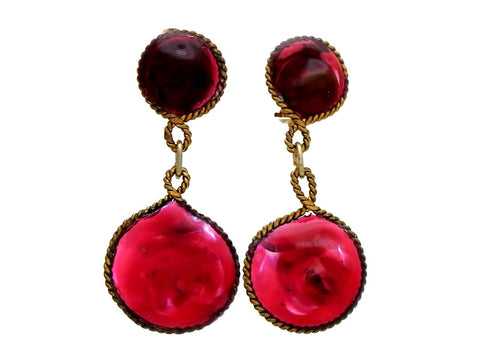 Vintage Chanel earrings gripoix glass dangle red