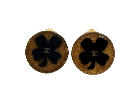 Vintage Chanel earrings CC logo clover round plastic