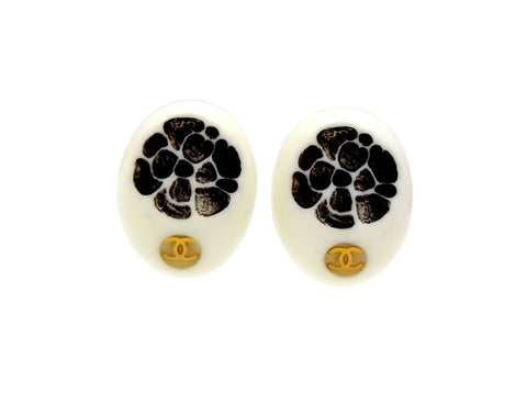 Vintage Chanel earrings camellia CC logo round plastic