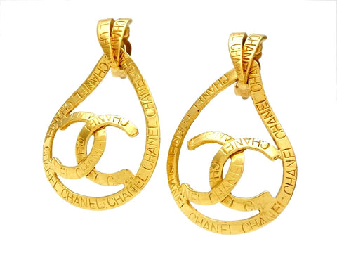 Vintage Chanel earrings CC logo hoop dangle 2-way
