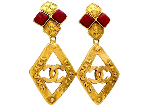 Vintage Chanel earrings CC logo rhombus dangle red stone