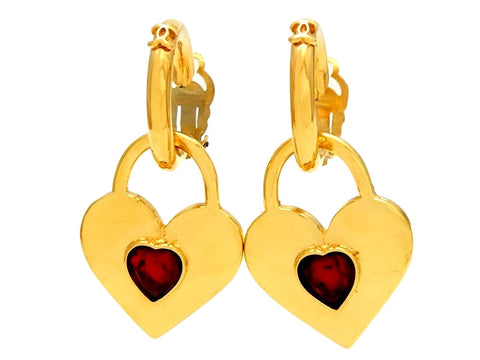 Vintage Chanel heart earrings red stone heart dangle