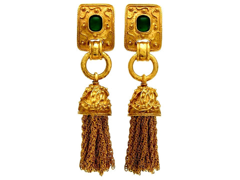 Vintage Chanel earrings fringe tassel green stone