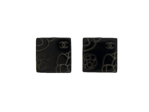 Vintage Chanel earrings camellia CC logo black plastic