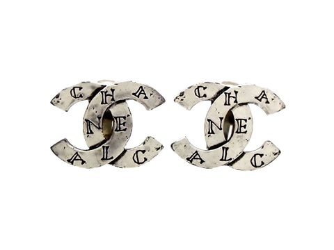 Vintage Chanel earrings CC logo double C silver color