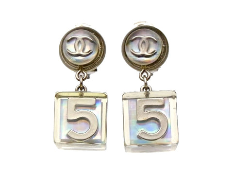 Vintage Chanel earrings No.5 clear plastic dangle
