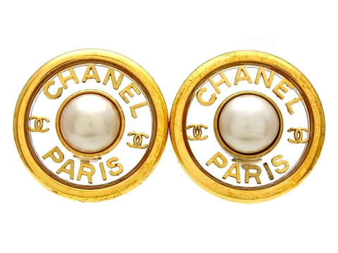 Vintage Chanel earrings CC logo pearl large round