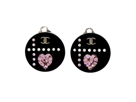 Vintage Chanel earrings heart rhinestone CC logo