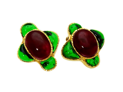 Vintage Chanel earrings gripoix glass red green