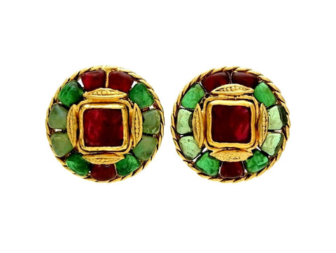 Vintage Chanel earrings gripoix glass red green round