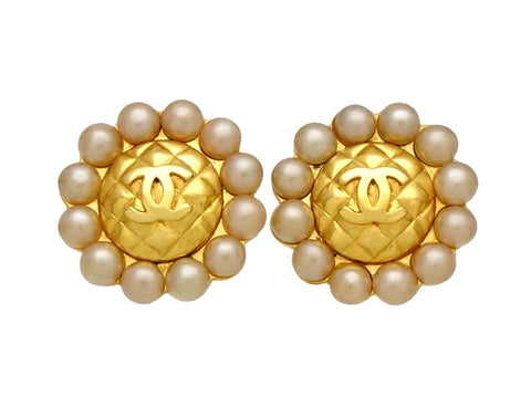Vintage Chanel earrings CC logo quilted round pearls