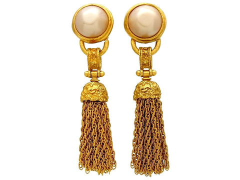 Vintage Chanel earrings pearl fringe tassel dangle