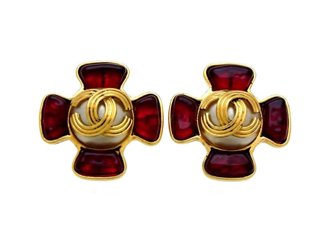 Vintage Chanel earrings CC logo red stone cross