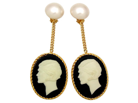 Vintage Chanel earrings Cameo COCO pearl dangle super rare