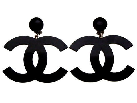 Vintage Chanel earrings big black CC logo plastic dangle