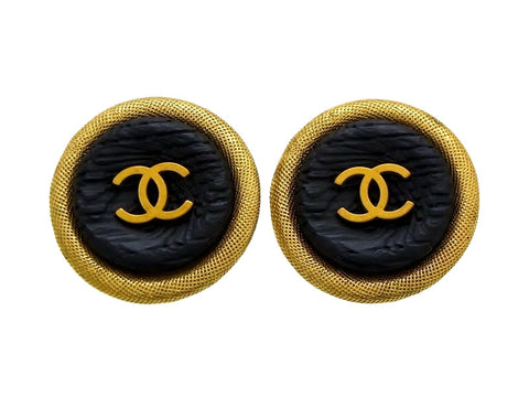 Vintage Chanel earrings CC logo black wood round