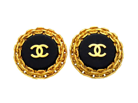 Vintage Chanel earrings CC logo black round large