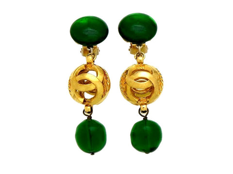 Vintage Chanel earrings green stone CC logo ball dangle