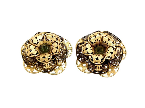 Vintage Chanel earrings green stone flower