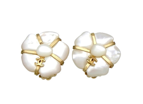 Vintage Chanel earrings CC logo white stones flower