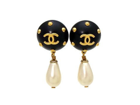 Vintage Chanel earrings CC logo pearl dangle black