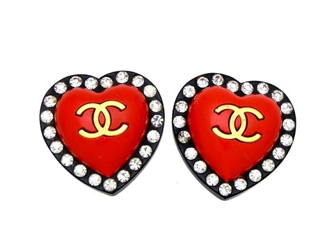Vintage Chanel earrings red black heart rhinestone