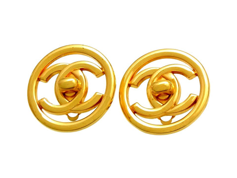 Vintage Chanel earrings turnlock CC logo round