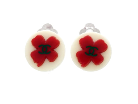 Vintage Chanel earrings CC logo red clover plastic