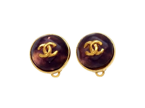 Vintage Chanel earrings CC logo purple glass stone