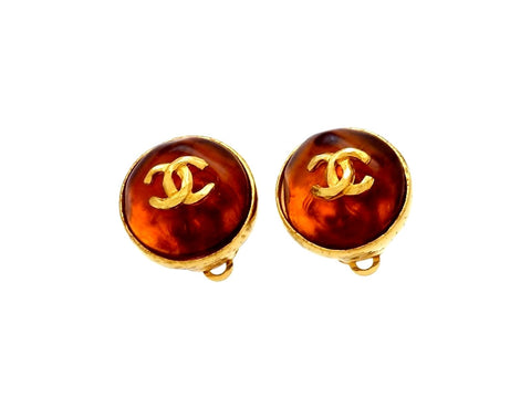 Vintage Chanel earrings CC logo orange glass stone