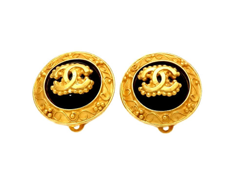 Vintage Chanel earrings CC logo black stone round