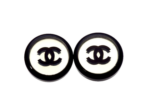 Vintage Chanel earrings CC logo mirror black round