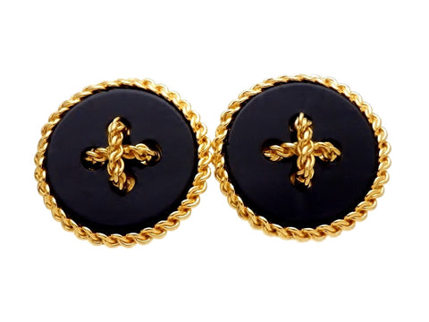 Vintage Chanel earrings button black large