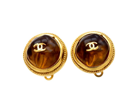 Vintage Chanel earrings CC logo gold stone round