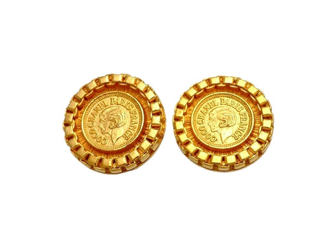 Vintage Chanel earrings COCO Chanel medal round