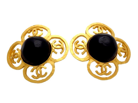 Vintage Chanel earrings CC logo clover black stone