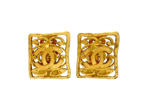 Vintage Chanel earrings CC logo quadrangle