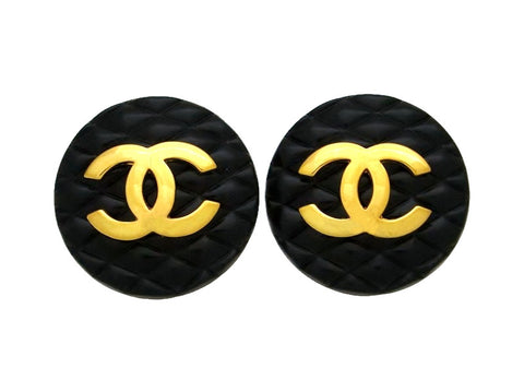 Vintage Chanel earrings Ashlee Simpson quilted black CC logo