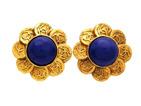 Vintage Chanel earrings CC logo round navy blue stone